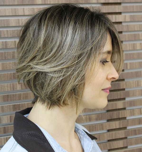 Short Layered Brown Blonde Bob
