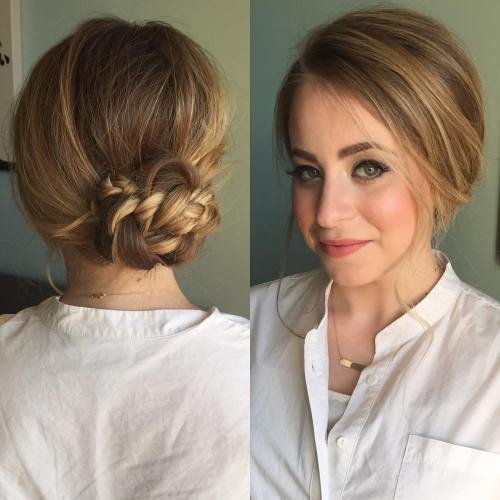 Low Braided Bun For Thin Hair