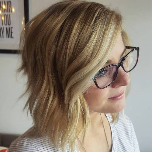 Layered Angled Blonde Bob