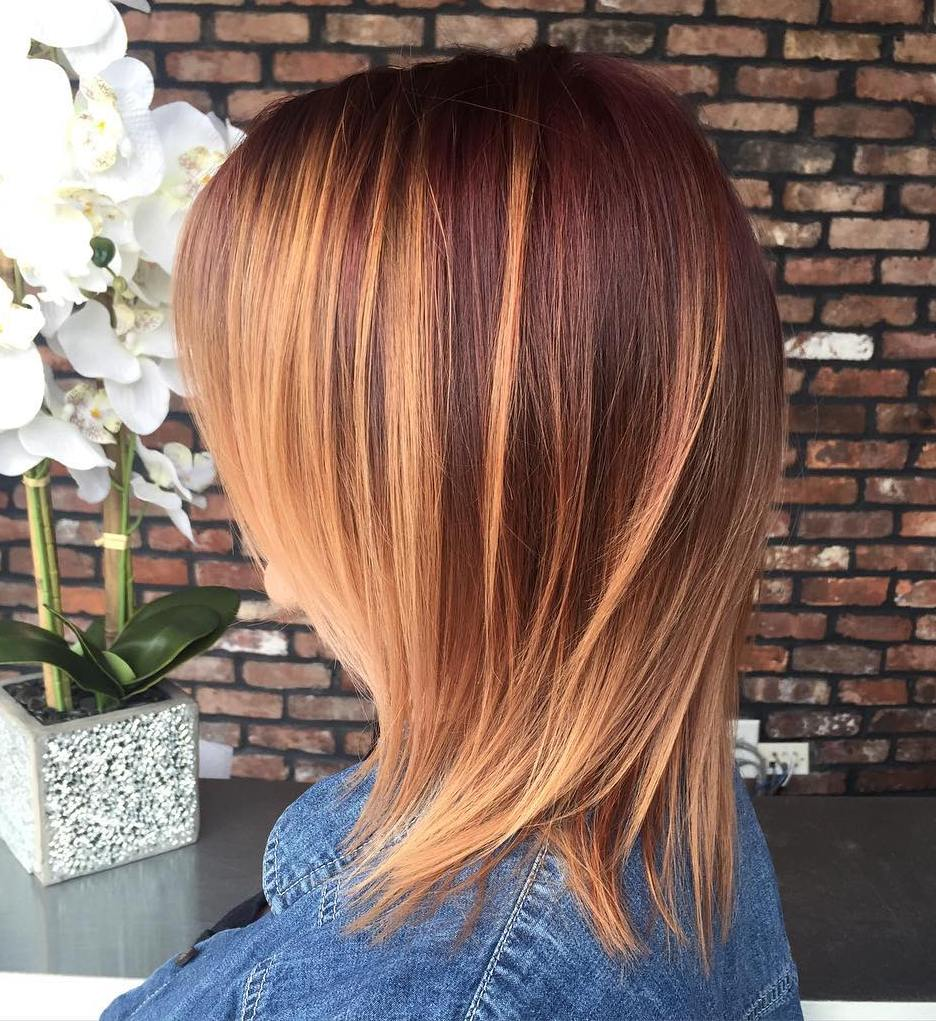 Mahogany Hair With Caramel Highlights