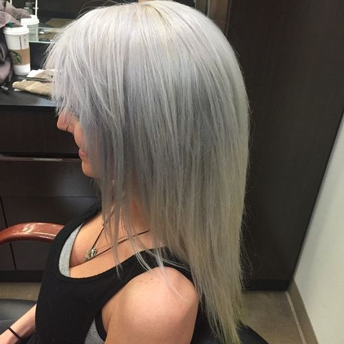 medium grey hairstyle for fine hair