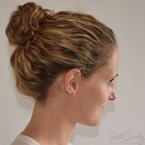 simple bun updo for wavy hair