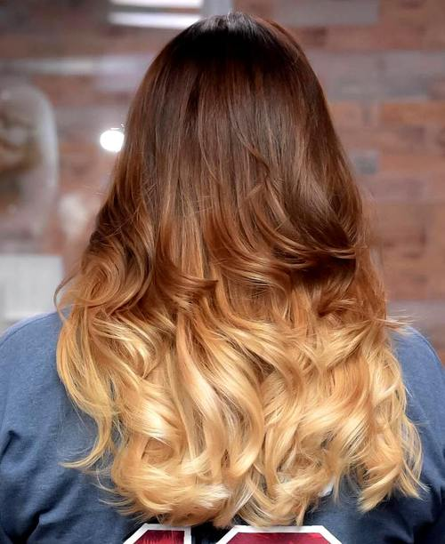 brown to blonde long ombre