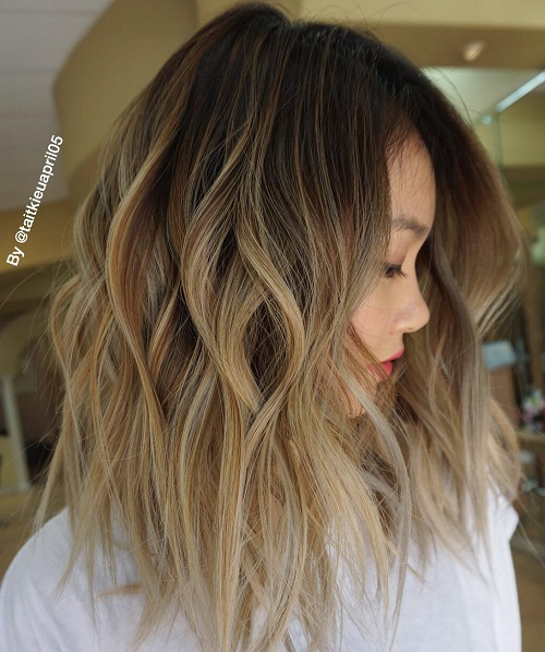 Shaggy Ombre Lob Hairstyle
