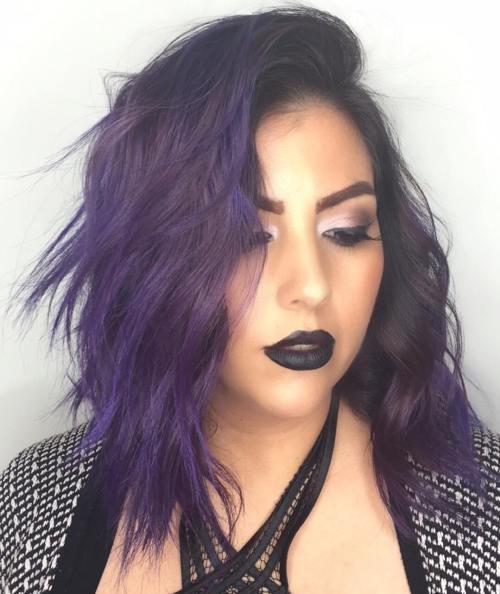 Medium Layered Purple Hair