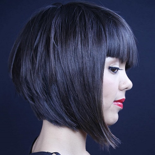 Layered Bob With Blunt Bangs