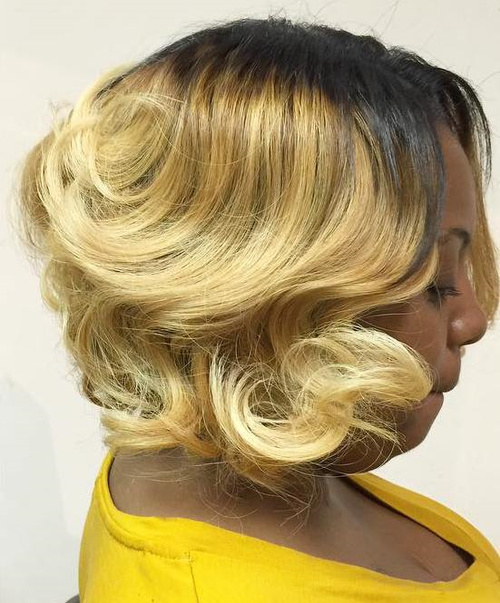 blonde bob with dark roots for black women