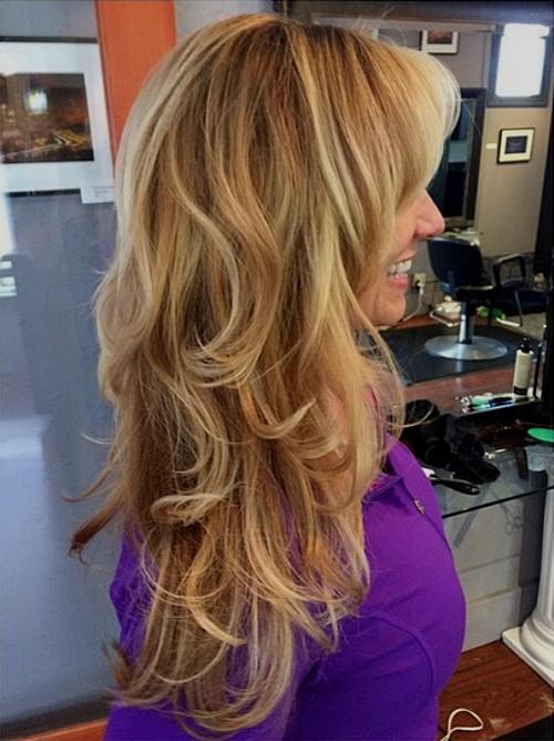 long layered caramel blonde hair