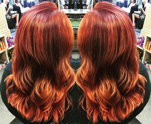 red layered hairstyle