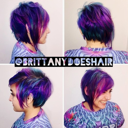 funky long pixie with purple highlights