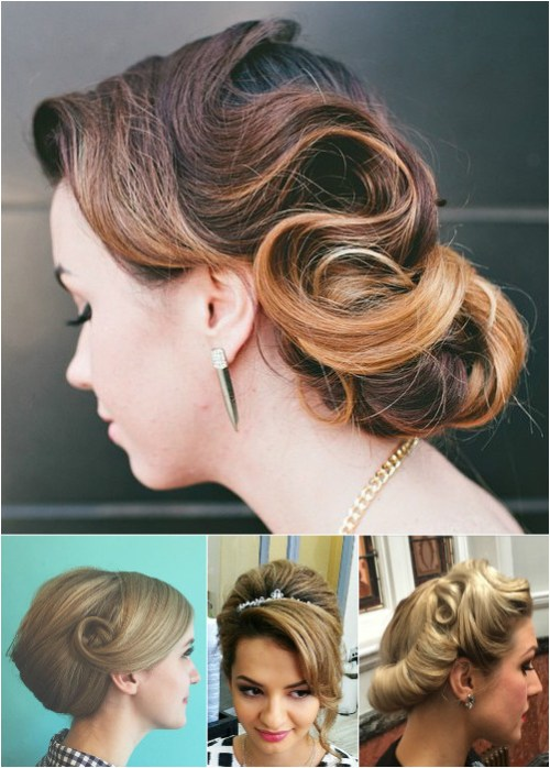 formal vintage updos for medium hair