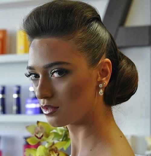 Formal Chignon With Pompadour Bangs