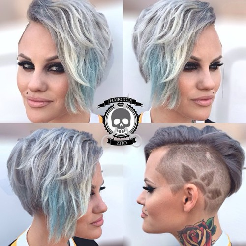 asymmetrical long pixie with side undershave