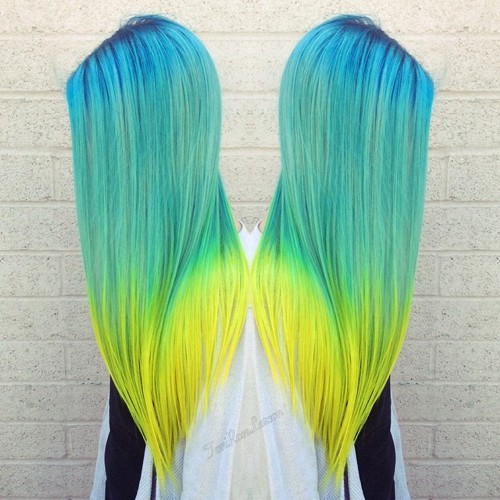 blue green and yellow ombre hair