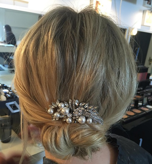 Simple Low Bun Updo