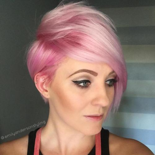 Pastel Pink Pixie With Long Bangs