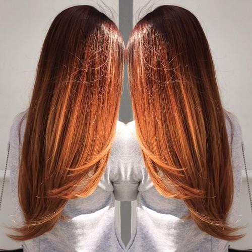 long copper ombre