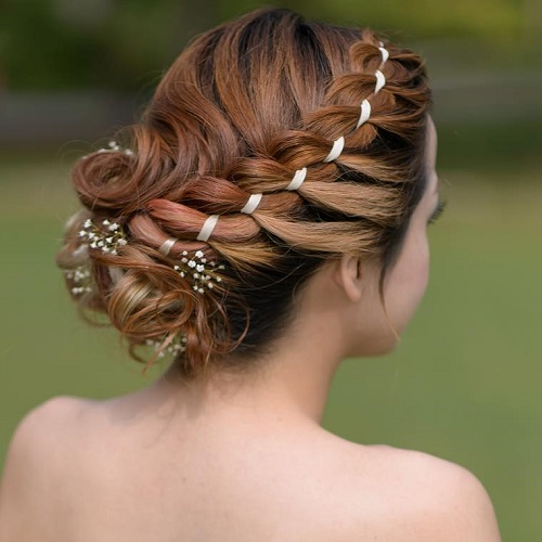 Curly Updo With A Side Ribbon Braid