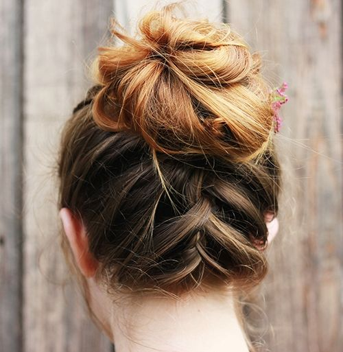 Upside Down Braid & Bun Updo For Medium Length Hair