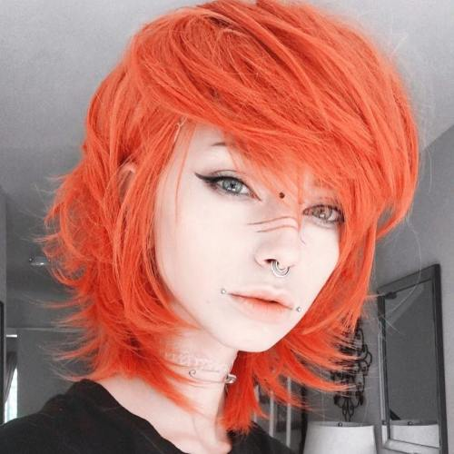 Medium Layered Orange Hair