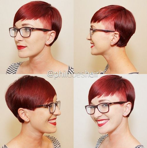 short red asymmetrical haircut for girls