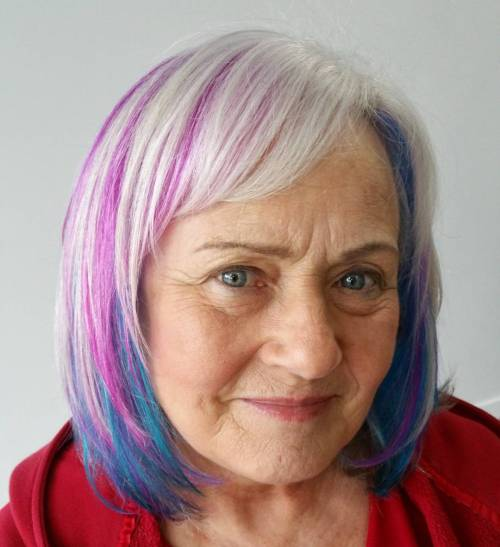 Grey Hair With Blue Streaks | Dark Brown Hairs