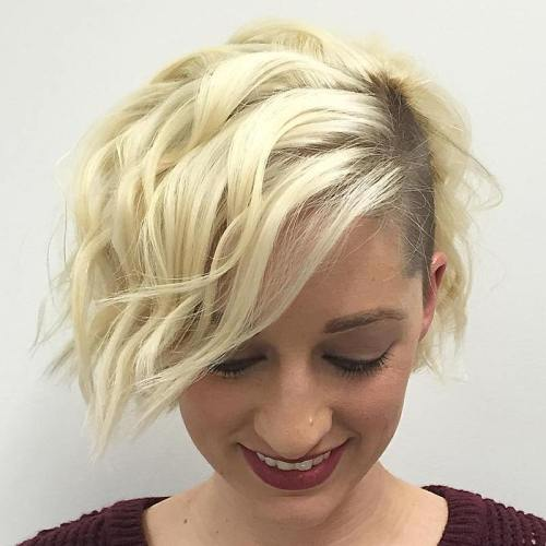 Blonde Wavy Bob With Temple Undercut
