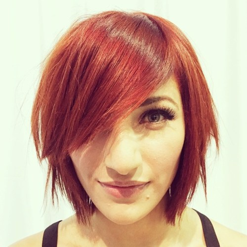 Red Choppy Bob With Side Bangs