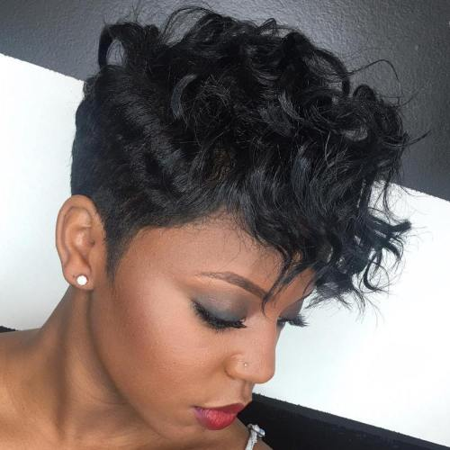 Short Wavy Black Undercut Hairstyle