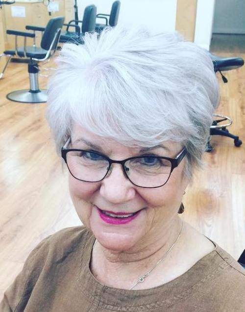 60+ Short Layered Gray Hairstyle