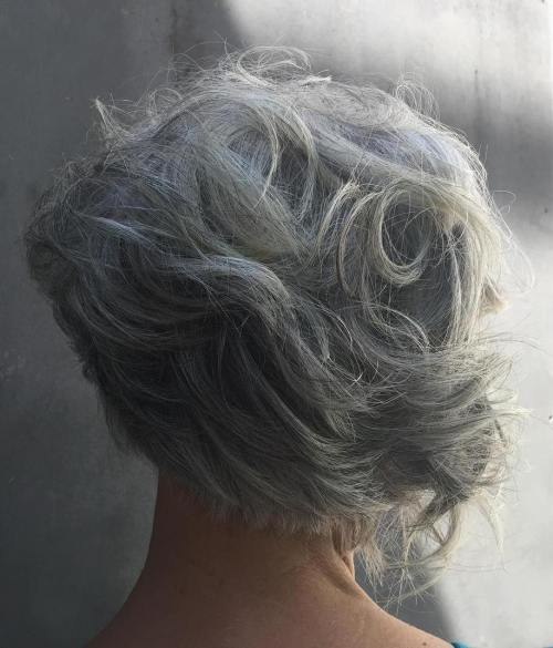 Curly Asymmetrical Gray Bob