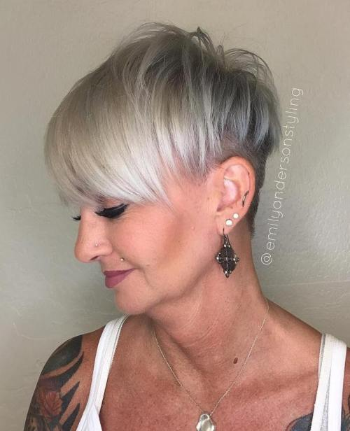 Gray Pixie Undercut For Mature Women