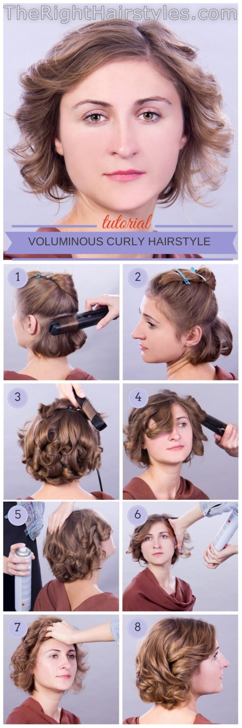 Hairstyles For Short Voluminous Hair : Voluminous Curly Hairstyle For Short Fine Hair  Step-By-Step ...