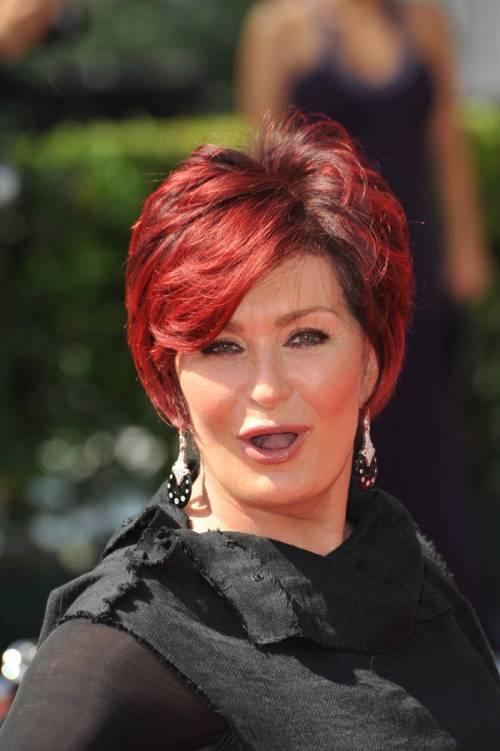 Sharon Osbourne short red hairstyle
