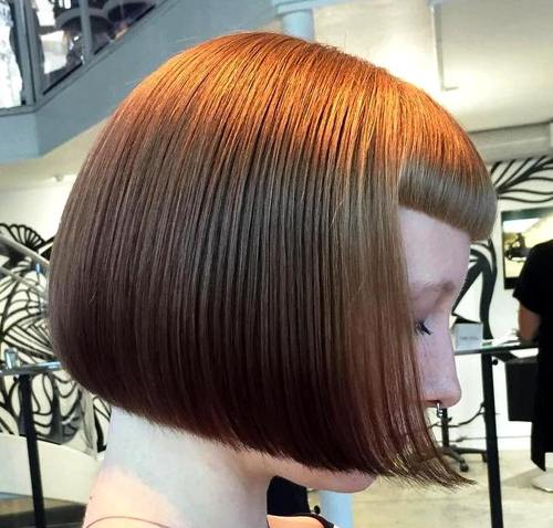 blunt chin-length bob with short bangs