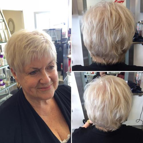 60+ Short Layered Blonde Hairstyle
