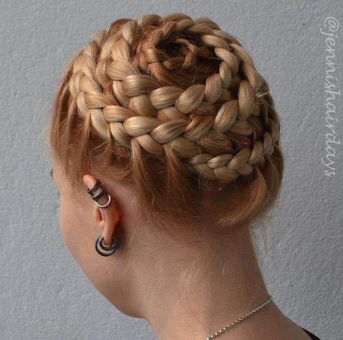 strawberry blonde braided updo