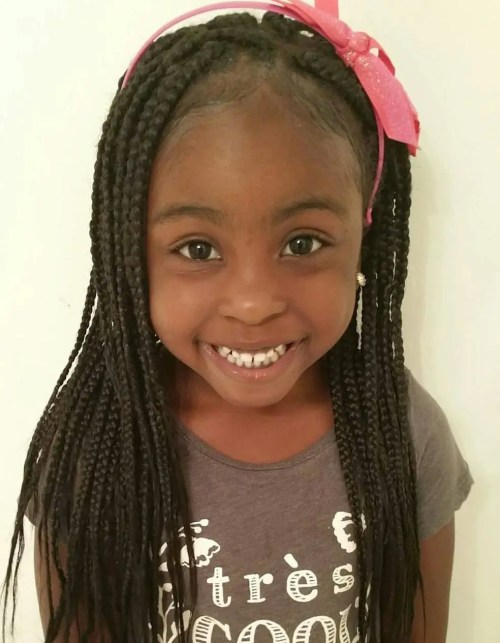 Little Girl With Long Box Braids