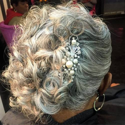 gray curly updo for older black women