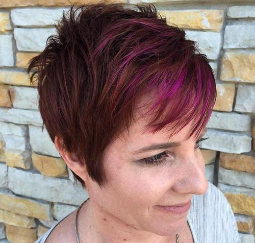 brown pixie with purple highlights in bangs