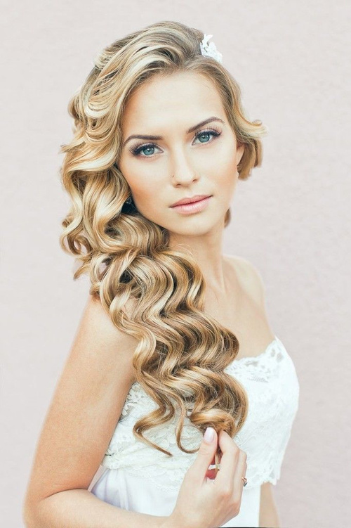 Hairstyle pic wedding curly hairstyles 20 best ideas for side curly downdo for wedding urmus Image collections