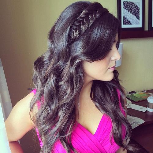 long half up bridal hairstyle