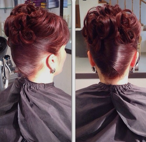 burgundy updo mother of the bride hairstyle