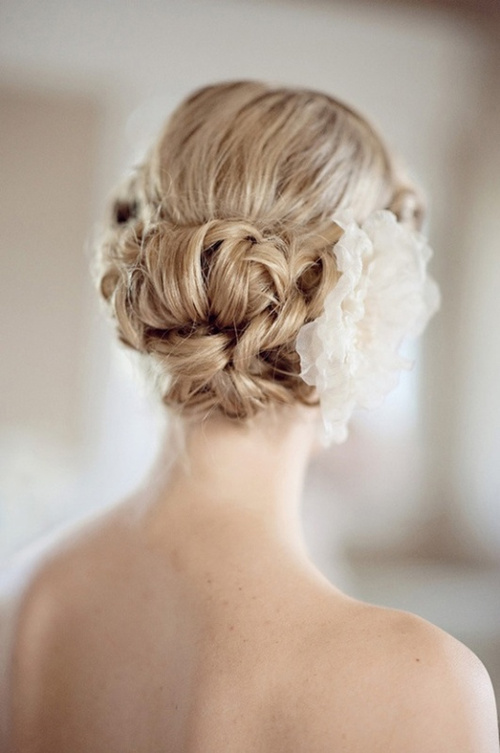 textured bun bridal updo