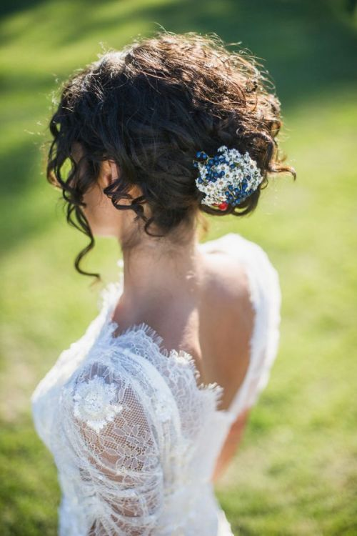 simple wedding updo for curly hair