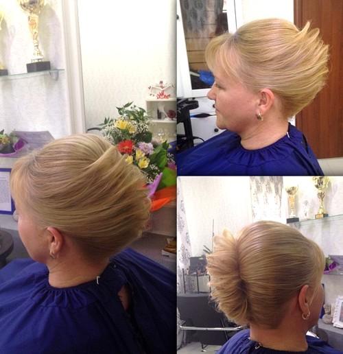 fancy blonde french twist updo