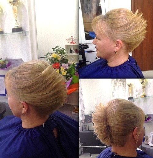 fancy blonde french twist updo
