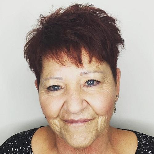 short razored haircut for older women