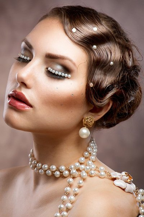 vintage curly updo for wedding