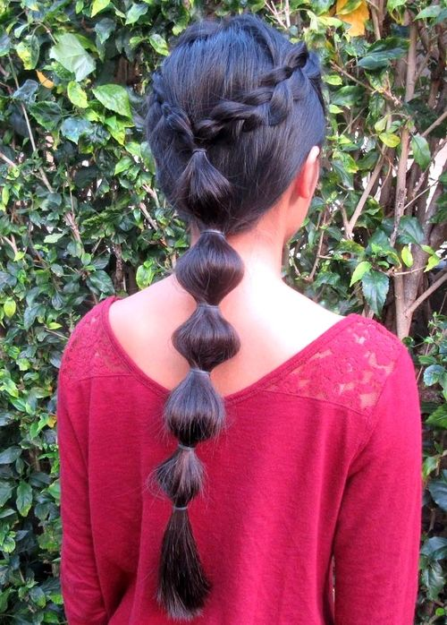 bubble ponytail for long hair